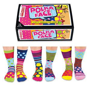 UNITED ODDSOCKS POLKA FACE SIX DOTTY ODD SOCKS FOR LADIES UK 4 - 8 GIFT IDEA