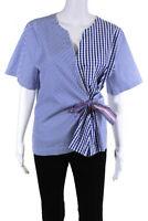 820 Icaliban Womens V-Neck Short Sleeve Blouse Shirt Top Blue Cotton Size EUR 46