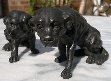 Pair of Antique Bronze Saint Bernard Dogs