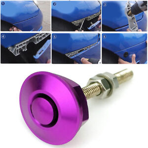 Purple Quick Release Car Push Button Hood Pin Lock Low Profile Click Latch Clip