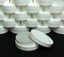 2 Cosmetic Containers Low Profile Wide Mouth White Jars Lid Liner 1 oz. #9353