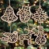 6Pcs New Christmas Tree Ornaments Hanging Xmas Tree Party Decor Wooden Pendant
