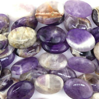 """25mm natural amethyst flat oval beads 15.5"""" strand"""