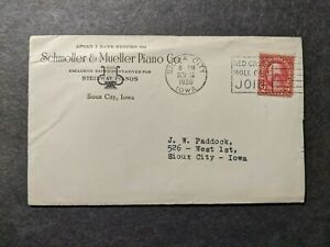 SCHMOLLER & MUELLER PIANO Co 1936 Postal History Cover SIOUX CITY IOWA w/ letter