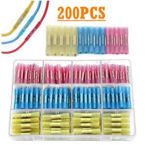 200pcs Assortment Heat Shrink Butt Wire Splice Connectors Set Crimp Terminal Kit