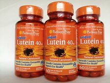 3 Bottles Puritan's Pride Healthy Eyes™ Lutein 40MG with Zeaxanthin Made In USA