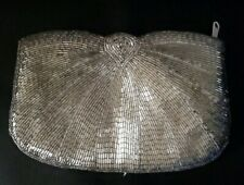 Vintage Silver Macau Evening Beaded Purse Bag Clutch