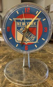 "TAKANE QUARTZ New York Rangers Logo on 4.5"" Round Clock For Parts VERY CLEAN C1"