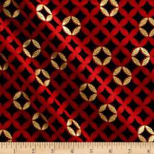 AUTUMN SPLENDOR Fabric Fat Quarter Cotton Craft Quilting FIG LEAF Geometric Red