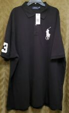 Polo Ralph Lauren Men's Big&Tall Black Classic Fit SS Big Pony Rugby Shirt 4XB