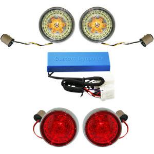 Harley Custom Dynamics LED Blinker Kit 02-13 FX Softail Touring Bullet Bezel