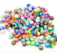 Free Ship 100Pcs Mixed Stripes Resin Round Spacer Beads 6mm Jewelry Accessories