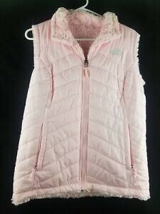 NWOT WOMENS THE NORTHFACE REVERSIBLE PINK FUR LINED PUFFER VEST SIZE M