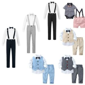 Baby Gentlemen Boys Plaid Print Shirt Romper Vest Shorts Pants Birthday Outfits