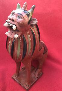 Mexico Folk Art Tonala Ortiz Ceramic Barro Brunido Crowned Lion Nagual Creature