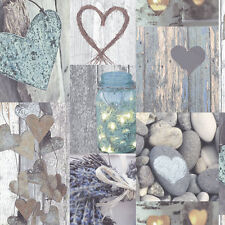 Opera Rustic Heart Blue/Teal/Brown Shabby Chic Wallpaper by Arthouse (669600)