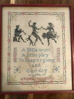 1932 Antique Needlepoint Sampler A Little Work A Little Play To Keep Us Going