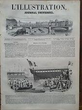 """L'ILLUSTRATION 1844 N 92 MISE A L' EAU A TOULON DE LA FREGATE """" LA POURSUIVANTE"""""""
