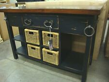 Kitchen Island Cottage Distressed French Country w Baskets Black with Stain