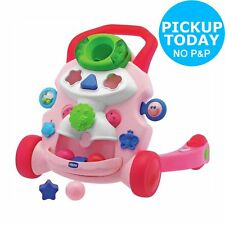 Chicco Baby Steps 2 in 1 Push Along Walker Stop & Play Activity Centre Pink