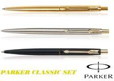 Parker Classic Ball Pen Set of 3 Silver Gold Matte Black GT Trim Brand New Gift