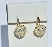 Echt 925 Sterling Silber Ohrringe Herz Zirkonia crystal gold Hochzeit Nr 418
