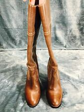 Lucky Brand Women Round Toe Brown Knee High Leather Boots Size 8.5 M RETAIL $170