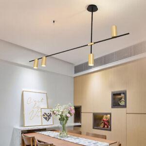 Vintage Black Gold Metal Linear LED Spotlight Ceiling Pendant Lights 3/4/9 Lamps