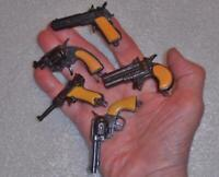 Vintage,5 Mini Toy Cap Pistols, US 45, Luger, Snub Nose, & More .Made in 1960's