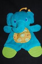 Bright Starts blue Green Elephant Teether Rattler Plush Crib Clip Baby Lovey Toy