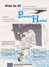 VINTAGE AD SHEET #1853 - P&H DIESEL ENGINE POWER HAWK OUTBOARD BOAT MOTOR