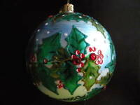 Christopher Radko Bird and Holly Glass Ornament