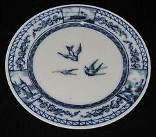 """BWM & C Brown Westhead Moore & Co Flow Blue 9 1/4"""" Plate Birds, 1879"""