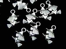 15 Pcs Tibetan Silver Flying Witch Charms Broomstick Halloween Craft  J171