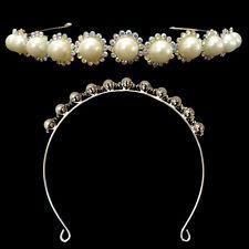 serre tête Diadème Mariage Mariée FLEURS cristal irisé / perles jaune pâle Crème