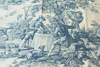 "French Antique c1870 Blue and White Cotton/Linen Toile Sample Fabric~28""X 32"""
