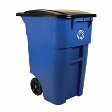 Rubbermaid Commercial BRUTE Heavy Duty 50 Gallon Trash RECYCLING CAN Wheels NEW