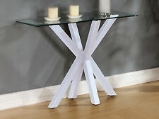 Console Hall Side Table Display Unit Clear Rectangle Glass Top White Gloss Base