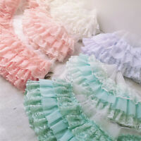 1 Yard 3-layer Pleated Lace Trim Ribbon Dolls Clothing Dress Sewing Decor DIY