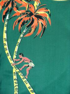 1950's Bud Berma RAYON Vintage Aloha Shirt coconut climber Hawaiian M