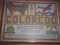 Ancien jeu coloredo boite P2 JEU DE CONSTRUCTIONS MULTICOLORES no lego clippo