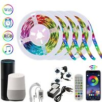 Smart WIFI LED Strip Lights Alexa 20M 15M Waterproof Color Changing with Remote