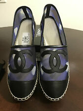 NIB Authentic Chanel Espardilles Blue Black White Mesh Leather Flats 41 11 Spain
