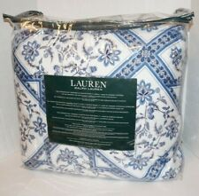 Ralph Lauren Comforter Set Queen Shams Abstract Floral Blue White Cotton Stripe