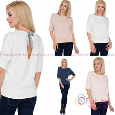 Patternless Hip Length Tops & Shirts for Women with Bows