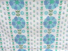 CAMEO CRUSH    Flower Power  BLUE  SHEET  Cotton  DOUBLE    RETRO VINTAGE FABRIC