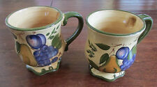 Set of 2 Home Trends Granada Coffee Mugs Pear Plum Grapes Replacements