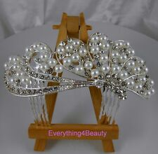 Handmade Bridal Hair Comb Swarovski Crystal pearl Headpiece hair Accessory