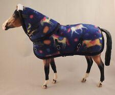 Handmade rug hood blanket 1:9 Traditional Breyer toy horse pony print fleece