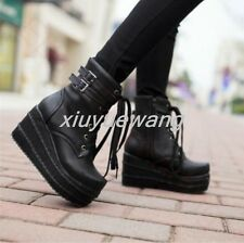 Womens Platform Wedge Buckle Decor Black Lace Up Ankle Boots Punk Goth Creeper#